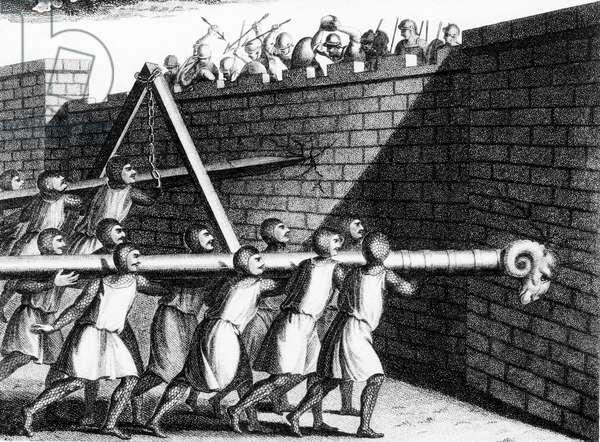 Attacking walls with battering rams. The one mounted on chains could be given more impetus than one carried on shoulders. Engraving c 1800.