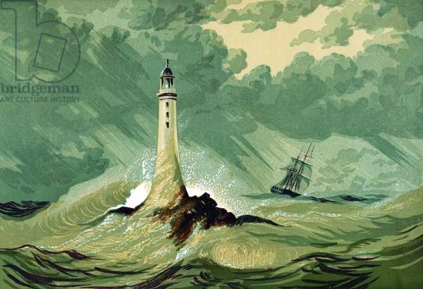 Third Eddystone lighthouse on Eddystone Rocks, 15 miles south of Plymouth in the English Channel, built by the English civil engineer John Smeaton (1724-1792) beginning in 1756. Remained in use until 1877. Oleograph c1850