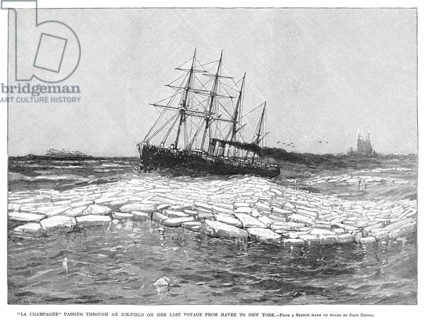 SHIP: LA CHAMPAGNE, 1890 The passenger ship, 'La Champagne,' passing through ice during a voyage from Havre to New York City. Engraving, American, 1890.