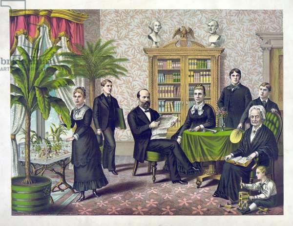 U.S. President James A. Garfield and Family,  Kurz & Allison, 1882 (litho)