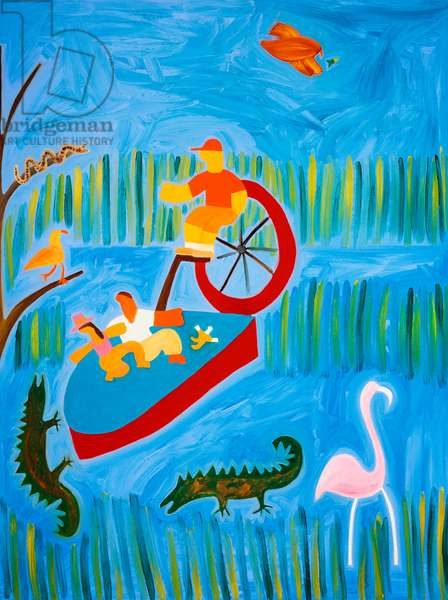 In Florida,with the crocodiles,2001,(oil on linen)