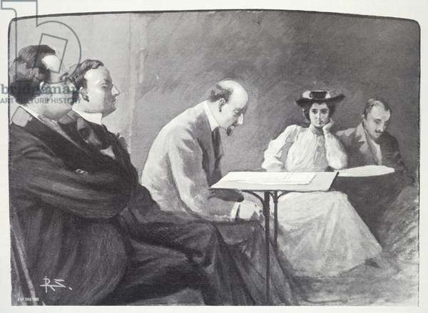 """Gabriele d'Annunzio (1863-1938) reading """"La figlia di Iorio"""" (Jorio's daughter)."""