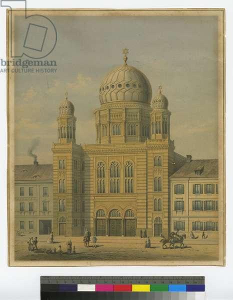 New Synagogue, Berlin-Oranienburgerstrasse, 1865 (colour litho)