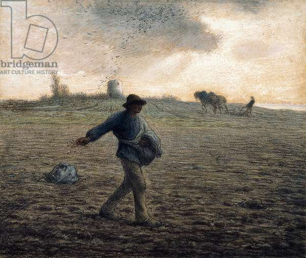 The Sower,  (pastel and black crayon on pale brown paper)