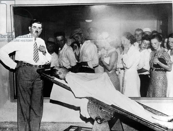 Body of american gangster John Dillinger killed in Chicago on july 22, 1934 is shown at the morgue
