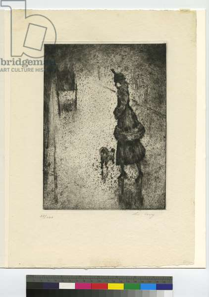 Lady with dog crossing street, 1921 (etching & aquatint)