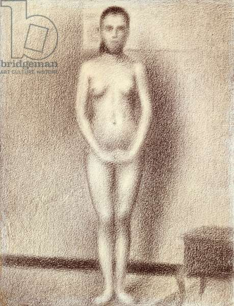 """Study for """"Les Poseuses"""", 1886 (conte crayon on laid paper)"""
