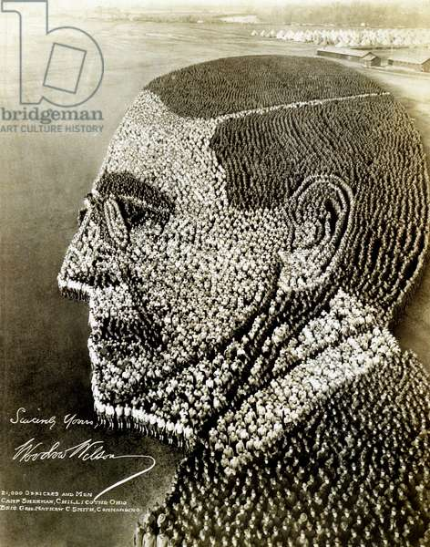 Political Poster. United States. 1918. WWI. Living Portrait of Woodrow Wilson.
