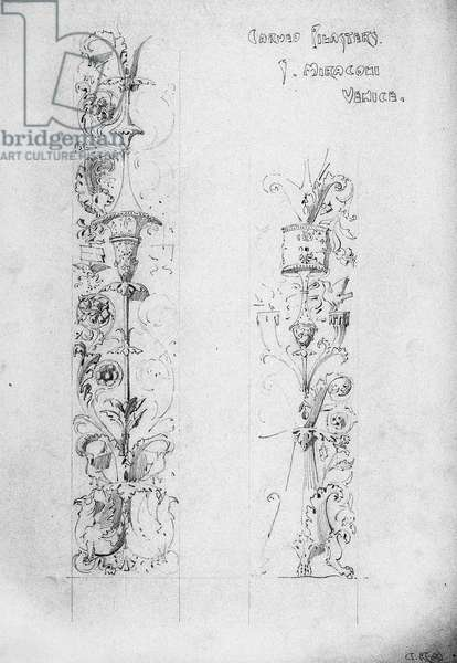 Carved Pilasters, S. Miracoli, Venice, 1891 (pencil on paper)