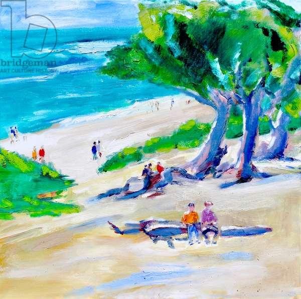 Cypress Tree and Beach, Carmel, 2019, (oil on canvas)