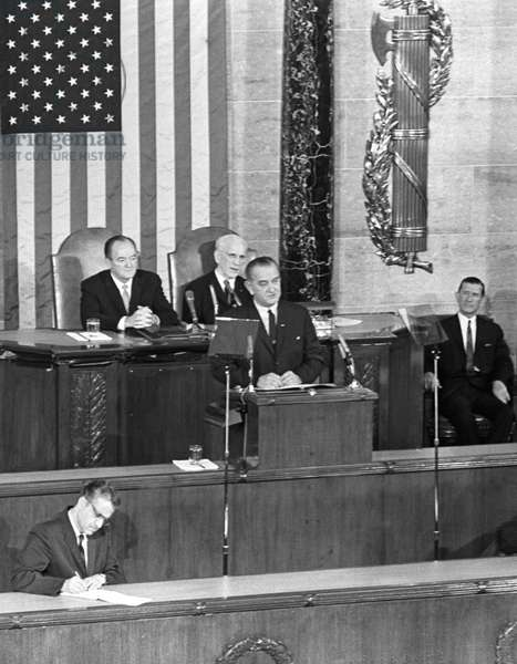 VOTING RIGHTS ACT, 1965 President Lyndon B. Johnson's special address to Congress about Voting Rights. Photograph by Cecil Stoughton, 3 March 1965.
