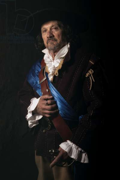 17th century, North Italy: country militia. Reconstructive hypothesis civil and military uses and customs. Portrait of captain of the village Militia, Varrua Savoia, Piedmont, Italy (photo)