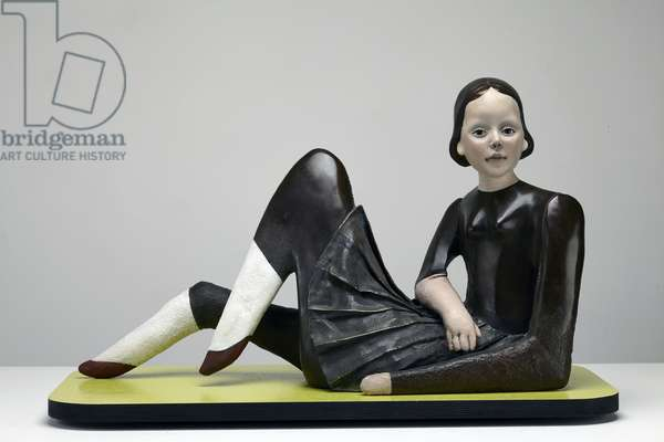 Reclining Doll, 2013 (oil paint on patinated bronze)