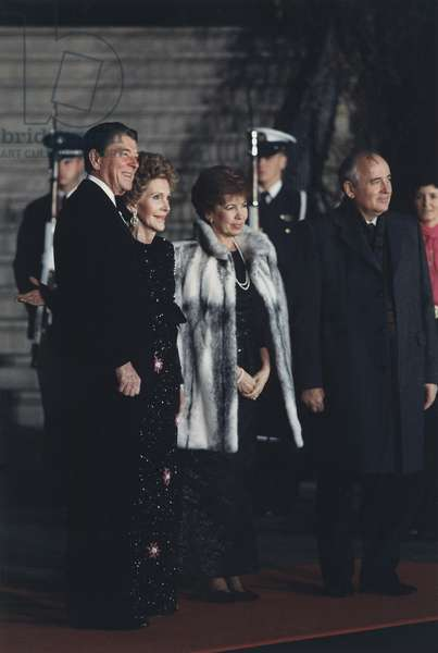 The Reagans greet the Gorbachevs at the White House State for a White House State Dinner. Earlier that day Reagan and Gorbachev signed the INF Treaty eliminating nuclear and conventional ground-launched ballistic and cruise missiles with intermediate ra