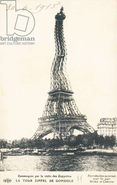 Distorted view of the Eiffel Tower in Paris (b/w photo)