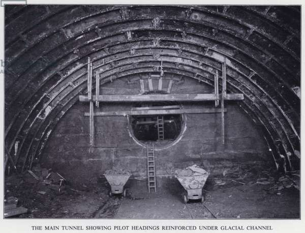 Mersey Tunnel: The Main Tunnel showing Pilot Headings reinforced under Glacial Channel (b/w photo)