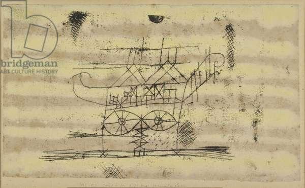 Scaffolding for the Head of a Monumental Sculpture (Gerüst dem Kopf einer für Monumentalplastik), by Paul Klee, 1923, 20th century, oil and watercolor on paper, 22 x 38 cm