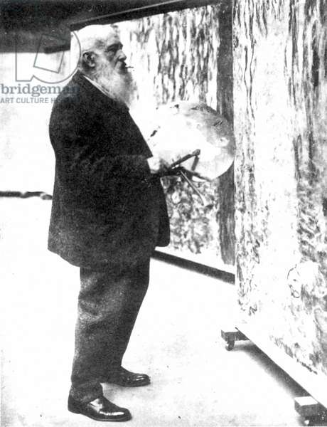 CLAUDE MONET (1840-1926) French painter. Photographed in his studio, 1920.