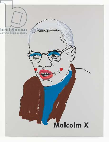 Malcolm X (small version 1) #1, 2001 (paint and screenprint on primed canvas)