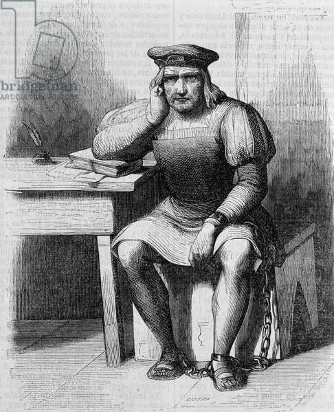 Christopher Columbus in chains returning to Spain, engraving from History of Life and Travel of Christopher Columbus, by Washington Irving (1783-1859), 1851, 19th century