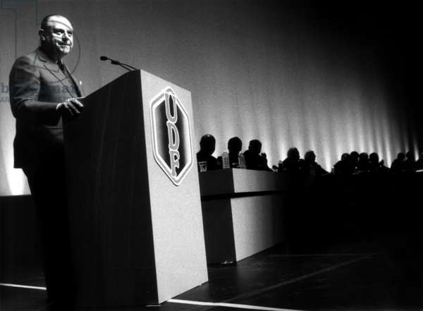 Raymond Barre, French Candidate at Presidential Election, during National Council of Udf, Paris, February 15, 1988 (b/w photo)