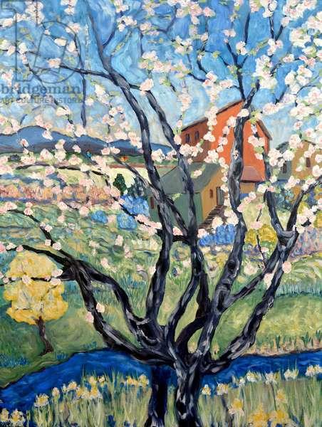 Cherry Blossom View, 2020, acyrlic on canvas