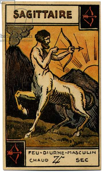 Paranormal. Astrology. Sagittarius (the Archer). Astrologic card from: Le Tarot Astrologique (Astrological Tarot), by Georges Muchery, France, 1927
