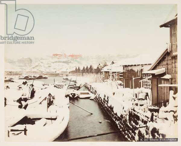 Snow in Yokohama, from A Book of Coloured Photographs of views in Japan, 1895 (coloured photo)