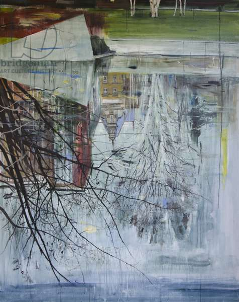 Reflection, Architecture, Planten un Blomen, 2013, (oil on board)