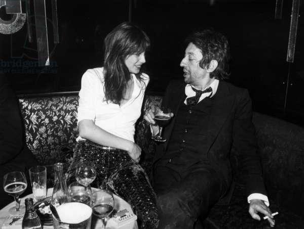 Jane Birkin and Serge Gainsbourg at Regine'S in Paris on March 22, 1971 (b/w photo)