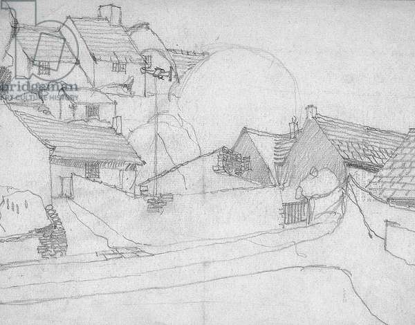 Sketch of English Village, c.1920 (pencil on paper)