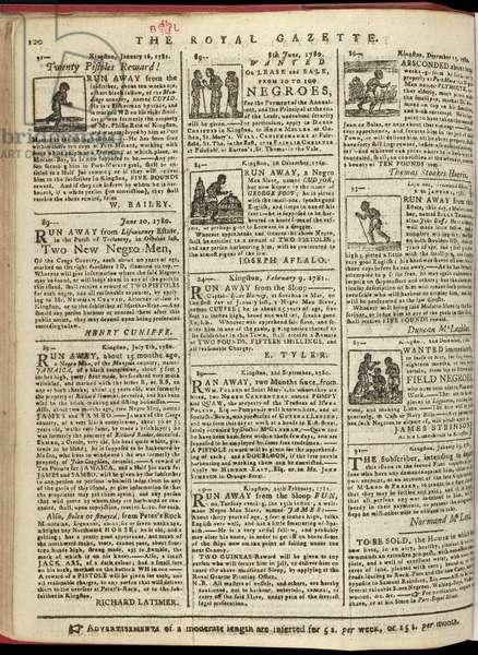 Runaway slave notices, the Royal Gazette, May 1781 (newsprint)