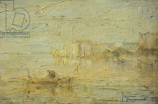 View of the Lagoon in Venice, by Pietro Fragiacomo, oil on cardboard