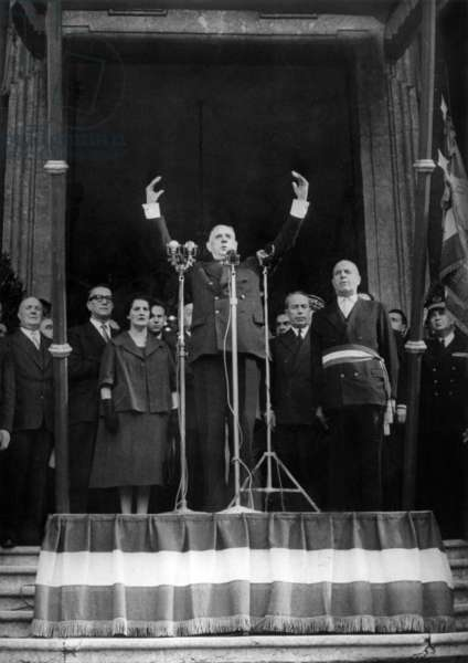 Speech of Prime Minister General De Gaulle at Lyon Town Hall, With Him Are Mrs Lattre De Tassigny and Antoine Pinay French Minister of Finances October 05, 1958 (b/w photo)