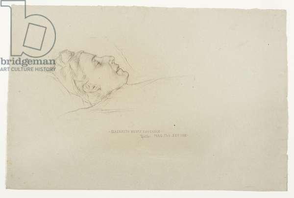 Post-Mortem Portrait of Elizabeth Boott Duveneck, 1888 (black chalk & charcoal on gray paper)