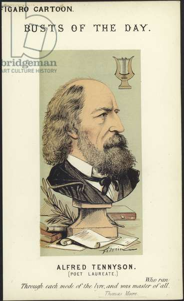 Caricature of Alfred Tennyson (colour litho)