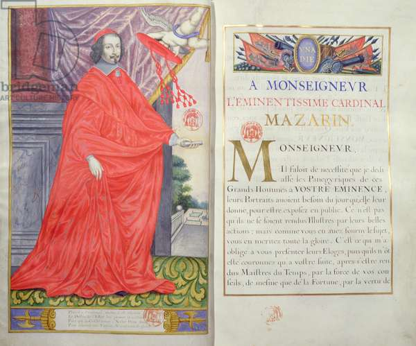 Cardinal Mazarin, illustration and dedication from 'Les Panegyriques des Hommes Illustres de Notre Siecle' by Puget de la Serre, 1655 (vellum)