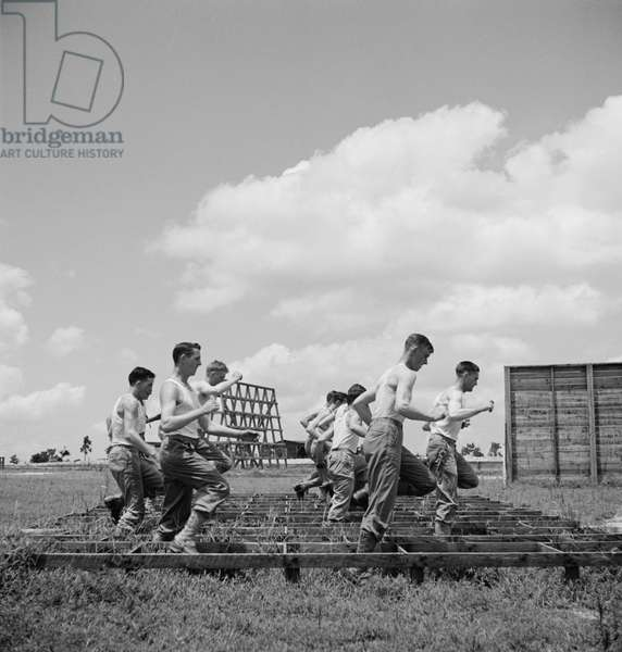 Enlisted Men Going Through Obstacle Course, Air Service Command, Daniel Field, Georgia, USA, July 1943