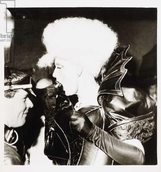 Clubber inside the Blitz Club, Covent Garden, London, UK, 1981 (b/w photo)