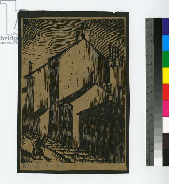 Woman Sweeping Street, 1932 (woodcut, ink on tracing paper mounted on black construction paper)