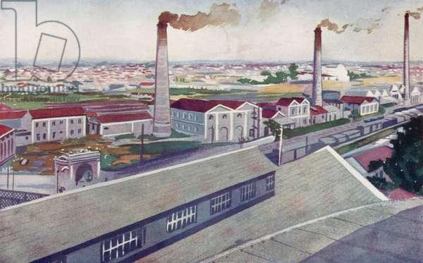 The Jute Mills of the Cia Nacional de Tecidos de Juta, Fabrica Sant' Anna, State of Sao Paulo (colour litho)