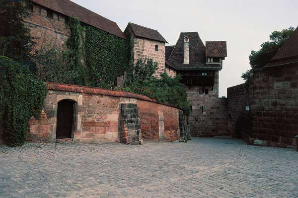 Glimpse of Kaiserburg, imperial castle, historical centre of Nuremberg, Bavaria, Germany, 16th-17th century