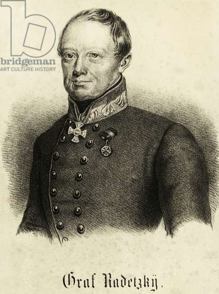 Portrait of Johann Joseph Radetzky (Sedlcany, 1766-Milan, 1858), Austrian field marshal, governor of Lombardy-Venetia in 1849, engraving, Austria, 19th century