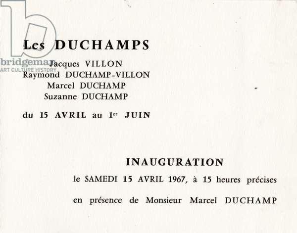 Les Duschamps, Jacques Villon, Raymond Duchamp-Villon, Marcel Duchamp, Suzanne Duchamp at the Musée des Beaux-Arts, Rouen, 15 April-1 June 1967 (litho)