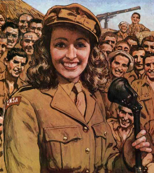 Vera Lynn boosting morale in the armed forces in WW2 (colour litho)