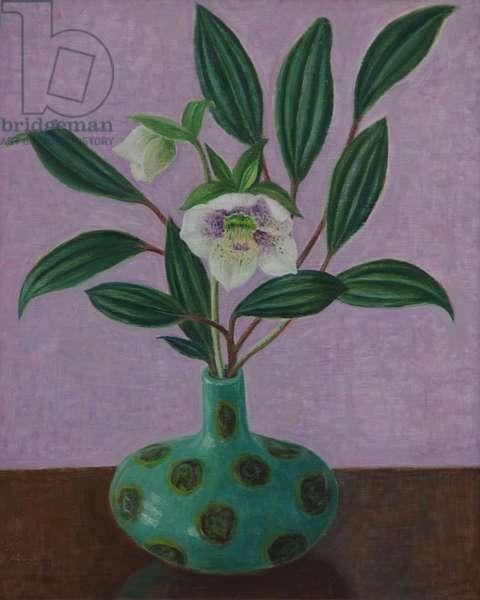 Hellebores with Viburnum Leaves