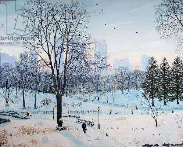 Winter landscape Central Park! 2016, ( oil on linen)