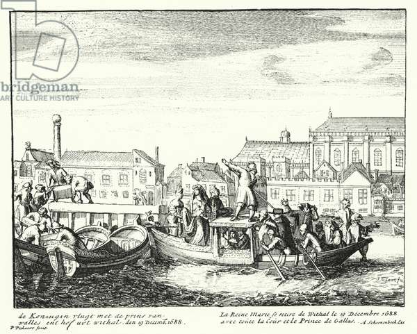 Queen Mary, consort of King James II, fleeing England with the Prince of Wales and her entire court, December 1688 (engraving)