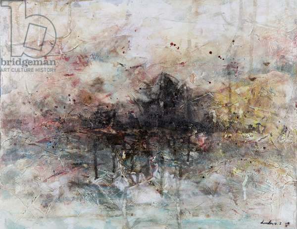 Abscape 1, abstract, landscape, (acrylic and ink on canvas), painting