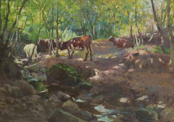 Cattle by a Stream, 1898 (oil on panel)